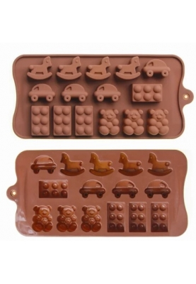 Силіконова форма для льоду і цукерок «Дитячі іграшки» 15 штук 10x21 см